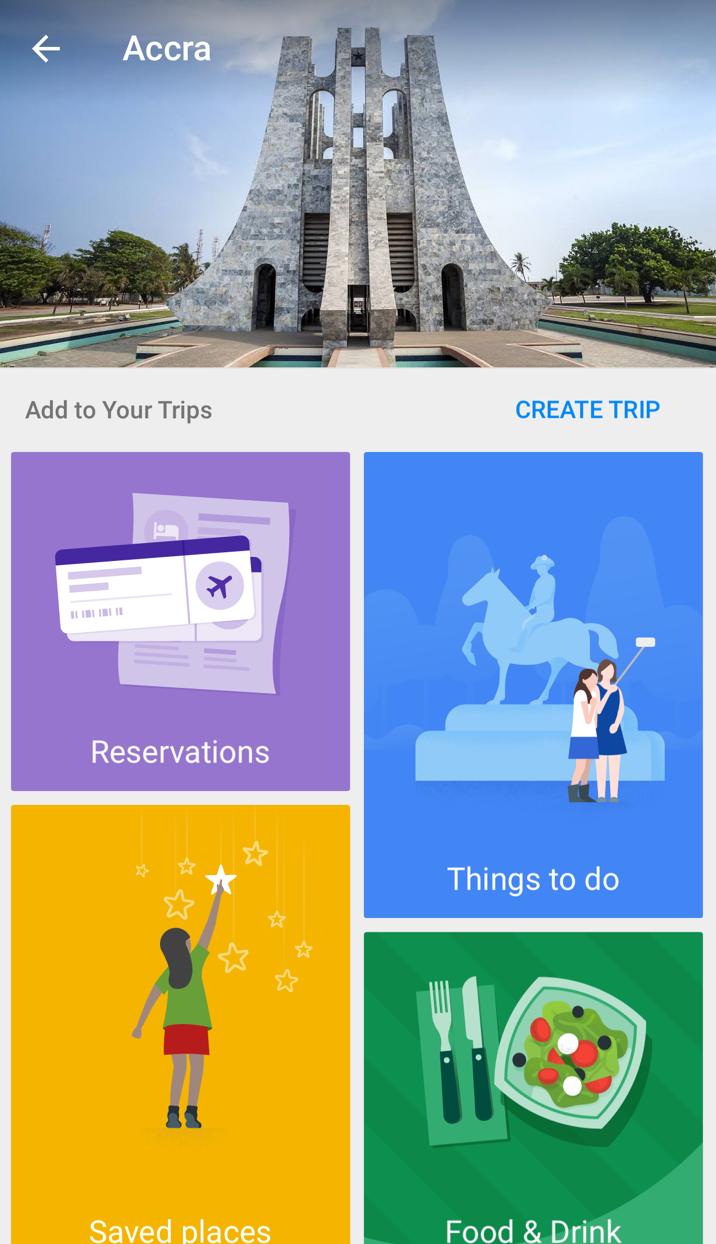 Google Trips per organizzare il viaggio